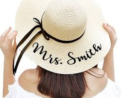 Floppy Beach Hat Personalized Bride with Name Custom Honeymoon Must Have Gifts hat   Etsy