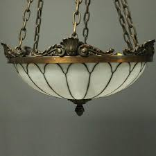 arts and crafts pair of antique arts crafts leaded glass and bronze hanging dome lights