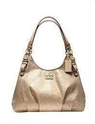 Coach Madison Embossed Metallic Leather Maggie Shoulder Bag