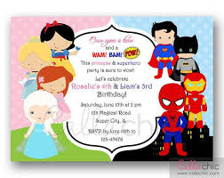superheroes birthday party invitations princess superhero birthday party invitations princesses and