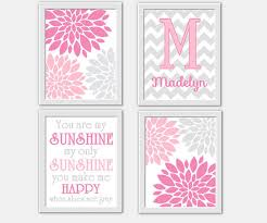 baby girl nursery wall art pink gray you are my sunshine flower burst girl room wall on personalized wall decor for nursery with baby boy nursery wall art blue gray from dezignerheartdesigns on