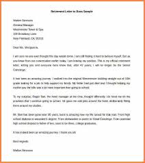 retirement resignation letter sample retirement letter to boss sample word doc