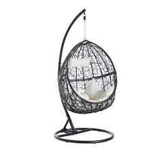 outsunny outdoor swing seat rattan egg hanging chair cushion garden furniture aosom co uk
