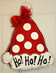 Decorative Door Hangers Santa Claus Christmas Hat Burlap Door Hanger Decoration Polka Dot