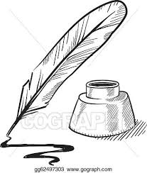 quill pen quill pen and inkwell sketch