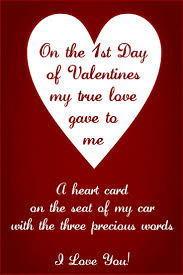 Love Valentines Quotes on the 100st day of valentines my true love gave to me a heart card on 72
