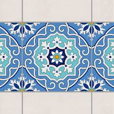 Tile Border Spanish tile pattern blue turquoise 20cm x 20cm