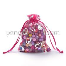 organza gift bags silver hearts printed with drawstring 00psy6