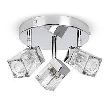 bathroom ceiling lights. modern chrome ice cube 3 way ip44 bathroom ceiling light spotlight amazoncouk diy u0026 tools lights n