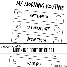 Free Printable Morning Visual Routine Chart For Kids And