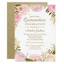 Quincenera Invitations Sparkle Floral Pink Gold Quinceanera Invitation