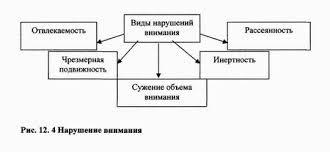 Психология внимания  при нарушении нормальной работы мозга как функциональной так и органической природы Насчитывается несколько видов нарушения внимания Рис 12 4