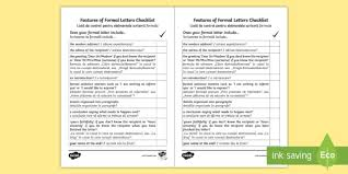 Formal Letter English Formal Letter Writing Checklist English Romanian Formal Letter Writing