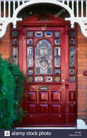 Exterior Stained Glass red front door British Housing London Stock ...