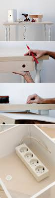 diy home office. diy home office ideas magazine holder hide power outlet strip