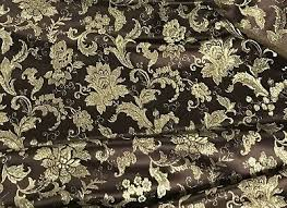 Floral Brocade Brown Gold Metallic Floral Brocade Fabric 45in Sold By The