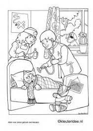 Kleurplaat Poes Is Ziek Kleuterideenl Thema Ziek Zijn Dokter