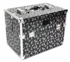 vanity de rangement noir fleurs argent pour produits manucure vanity casesmakeup boxmakeup