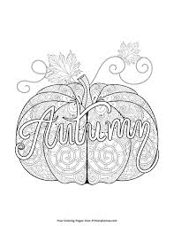 Small Picture Fall Coloring Page Autumn Pumpkin Zentangle Free printable
