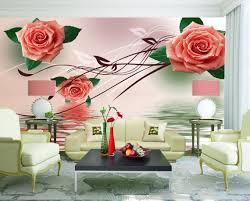 Rood Rose Dansen Lake Bloemen Vintage Baksteen Behang 3d