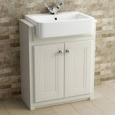 traditional bathroom floor standing basin vanity unit clotted cream