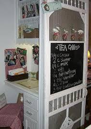 turn an old screen door into a menu board shelf diy