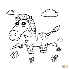 Small Picture Coloring Pages Animals Cute Zebra Coloring Page Mammal Coloring