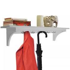 90cm wall storage shelf 5 hooks hallway coat rack towel white 1