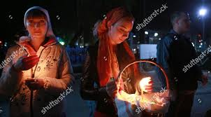 Kyrgyzstan Red Light Area Russian Orthodox Believers Light Candles They Await