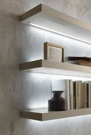PRESOTTO Matt beige argilla lacquered, thick, I-modulART shelves with led  lighting above and below.__ Mensole I-modulART laccato opaco beige argilla  con ...