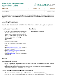 Link Up A Subject Verb Agreement Game Lesson Plan Education Com