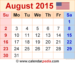 2015 monthly calendar august 2015 calendars for word excel pdf