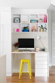 modern office design concept featuring home office. Modern, Clean Office Space Featuring Storage Cubes On Top And Drawers Bottom, Yellow Metal Stool, White Lacquer Modern Desk Lamp Design Concept Home