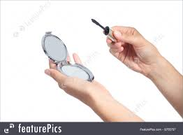 hand holding mirror. Woman Hands Holding A Hand Mirror And Lash Mascara Ready To Make Up  Isolated On