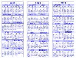 Year To Year Calendar 2019 2020 2021 3 Year Calendar
