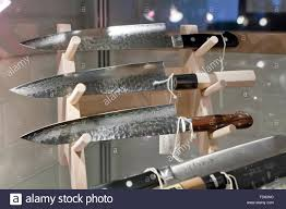 Japanese Kitchen Hand Crafted Japanese Kitchen Knives On Display Case Stock Photo