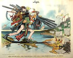 uncle sam loaded with implements of modern civilization uses the philippines as a stepping in this political cartoon