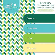 Color Combinations | Emerald Green Seafoam Turquoise Blue Canary Yellow |  Cherry Blossom Charm