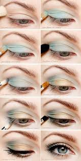 eye tutotorial with pastel eye shadows