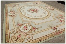 aubusson rug 9 x12 pastle light green ivory pink