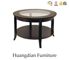 accent black rond solid wood legs coffee table with glass top hd095