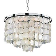 bayside 6 light capiz shell and chrome chandelier