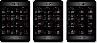 Vector Pocket Calendar Set 2018 2019 Stock Vector Colourbox