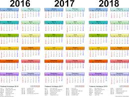 year calender 2016 2017 2018 calendar 4 three year printable pdf calendars