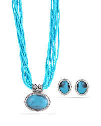tazza tazza women s oxidized antique look vintage silver tone turquoise seed bead 1 5 inches pendant stud earrings and statement necklace set