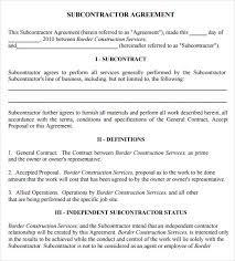Subcontractor Agreement Format Sample Subcontractor Agreement 7 Example Format