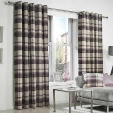 super stylish and top quality fully lined curtains featuring a tartan box check design in tones of plum purple and beige and natural