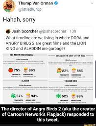 The director of Angry Birds 2 (aka the creator of Cartoon Network's  Flapjack) responded to this tweet. - iFunny :) | Memes, The creator, Angry  birds