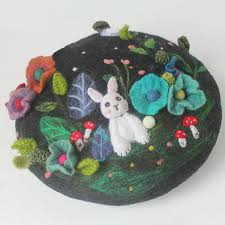 2019 <b>Cute Rabbit</b> Handmade Wool Felt Berets Hand <b>Embroidered</b> ...