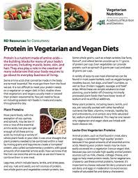 Protein In Vegetarian And Vegan Diets